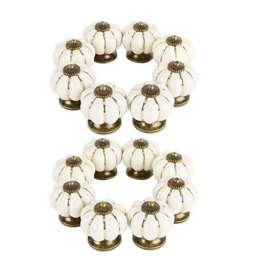 Pomos Ceramica (16 Piezas) - Pomos Vintage Calabaza con Tornillos 4,1 x 3,8 cm - Pomo Puerta Armario Decorativos Antiguo Alacena para Muebles, Cocina, Cómoda, oficina - Pomos Cajones