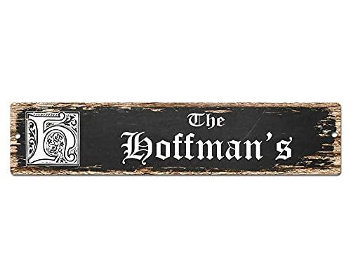 Diuangfoong The Hoffman'S - Cartel de nombre de la familia para bar, tienda, cafetería, decoración para el hogar, elegante, regalo 10 × 45