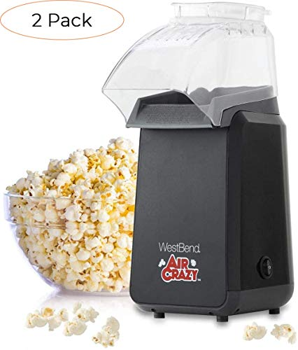 Fantastic Prices! West Bend 82418BK Crazy Popper Pops Popcorn Using Hot Air, 4-Quart, Black (Two РÐ...