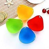 TONGDA Set di 4 stampi in silicone antiaderente per uova selvatiche, pentole, pentola o cottura a vapore (4 colori)