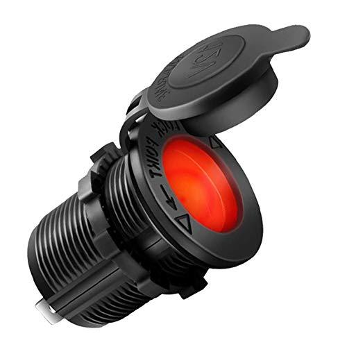 N\A Auto Feuerzeug Ladegerät Universal Motorrad LKW wasserdicht 120W 12V Auto Zigarettenanzünder Sockel für Ladegerät Luftkompressor Staubsauger Universal (Color Name : Red Light)
