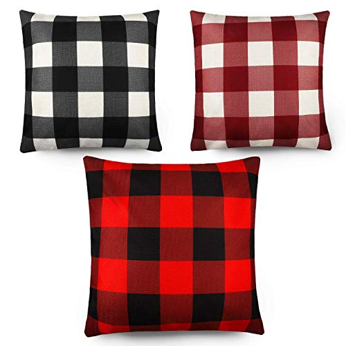 MIMORE 3 Pieces Christmas Plaid Pillow Covers Linen Throw Cushion Covers Decorative Square Pillow Case for Sofa Couch Bedroom Car Decor, 18 x 18 Inch