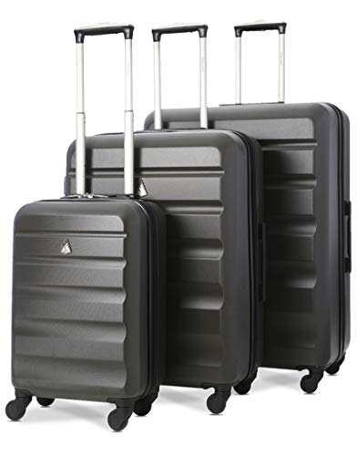 Aerolite Lightweight 4 Wheel ABS Hard Shell Travel Trolley 3 Piece Luggage Suitcase Set, 21' Cabin + 25' + 29' Hold Check in Luggage, Charcoal