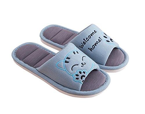 Cliont Mujer Niñas Hombre Linda Gato Zapatillas de Interior Suaves Zapatillas de Punta Abierta de algodón en casa Zapatillas de casa