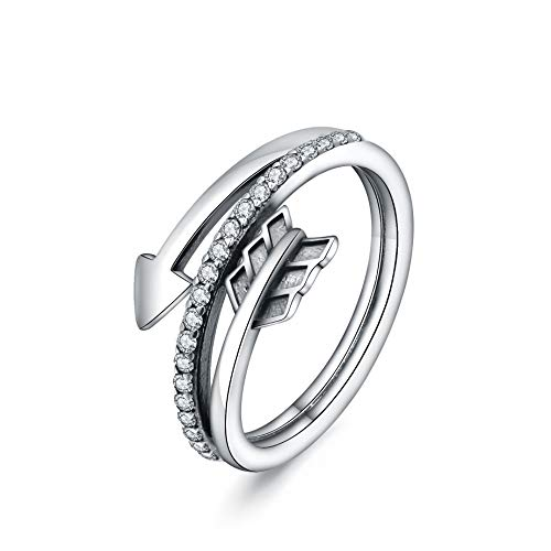 Women Rings 925 Sterling Silver Sparkling Sideways Arrow Ring with Clear Cubic Zirconia Fine Jewelry by CELESTIA Birthday Christmas Valentine's Day Gift for Her, Double Wrap, Size O
