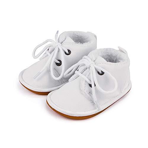 Lacofia Botas de Invierno de Suela de Goma para bebés niños o niñas Zapatillas de Deporte con Cordones para bebé Blanco 6-12 Meses