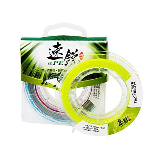 ツリーノーヤX8釣りライン8織り100%PE 100M編組ワイヤー3色超強いフローティングライム (Kleur : Yellow 2.5)