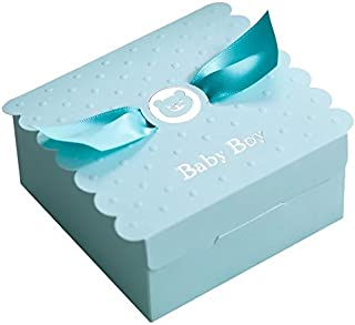 Floratek 30 PCS Baby Shower Favors Cute Baby Boy Angel Wings Designed Chocolate Packaging Box Candy Box Gift Box for Kids Birthday Baby Shower Guests Wedding Party Supplies (Baby Boy)