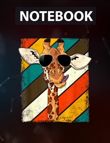 Retro Vintage Giraffe Sunglasses Funny Animal Lover Notebook - College Ruled 130 pages - US Size