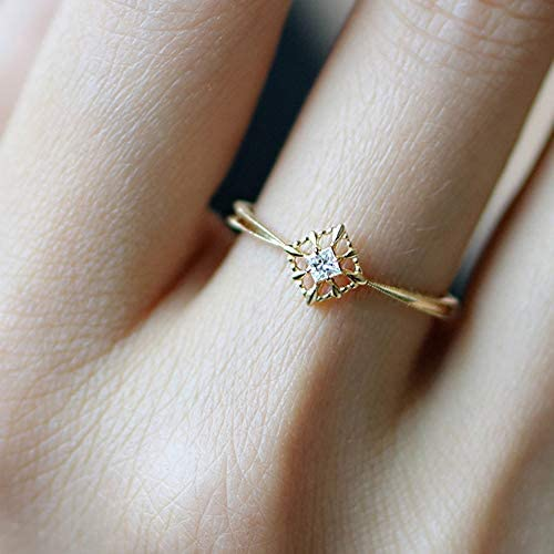 Huxindao Fashion Jewelry Vintage Square Cubic Zirconia Ring in Gold CZ Engagement Bridal 925 product image