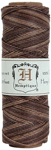 Hemptique 100% Natural Hemp Cord Single Spool - 205ft ~ 62.5m Hemp String Spool - Crafters Number 1 Choice - .5mm Cord Thread for Jewelry Making, Macram, Scrapbooking, More - Earthy