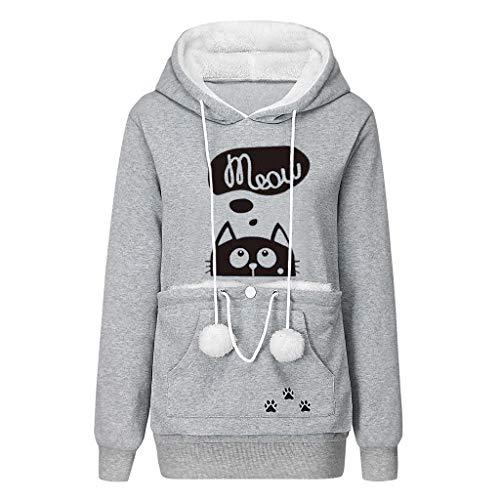 Gemira Womens Pet Carrier Shirts Hoodie Pet Pouch Sweatshirt Kangaroo Pouch Pullover Kitten Puppy Holder Hood Sweatshirt