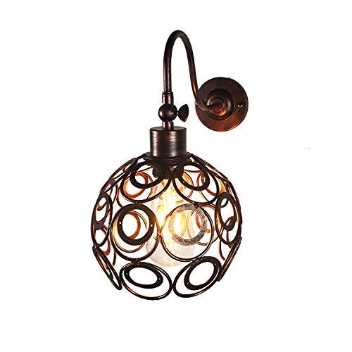 BrightBulb E27 Lámpara Pared Vintage Luz Metal Lámpara Pared Hierro Lámpara Pared Industrial Retro Para Restaurante Sala Estar Dormitorio Oficina Lámpara Interior-Óxido Rojo