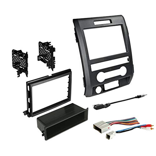 Single or Double DIN Radio Dash Kit for 2009-2014 F-150 with Antenna Adapter & Harness Compatible with All Trim Levels