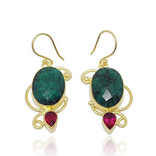 Pendientes de estilo indio de corindón geen y turmalina rosa con piedras preciosas
