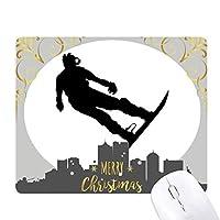 スポーツスキーボードスキー選手 クリスマスイブのゴムマウスパッド