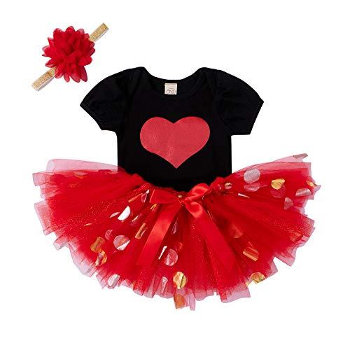 Anaike Juegos de falda y top para bebé, falda de malla, cuello redondo, manga corta con estampado de corazón, falda de tutú con lentejuelas, diadema de flores, rosso, 12 meses