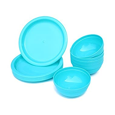 12 Pieces Plastic Bowls and Plates Set for Parties/Picnics,Reusable and Unbreakable,Blue,Honla