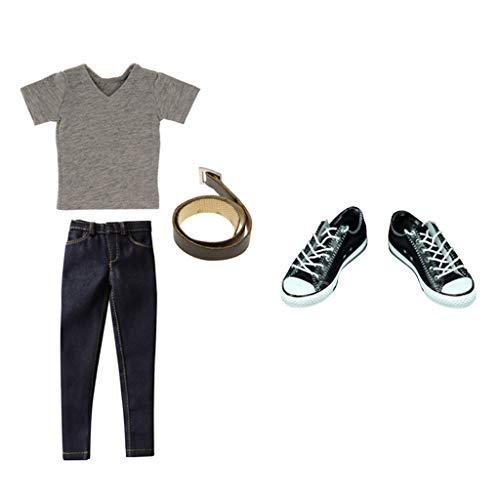 1/6 Grijze T-shirt Jeans Canvas Schoenen voor 12 Inch TC Action Figure