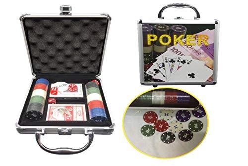 Set Juego de póker con Caja Metalica con Llave, Chip 100 fichas +2 Barajas de Cartas+Ficha Dealer.