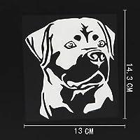 カーステッカー 13CMX14.3CM防水の装飾ロットワイラー犬デカールビニール車ステッカーブラック/シルバー カーステッカー (Color Name : Silver)