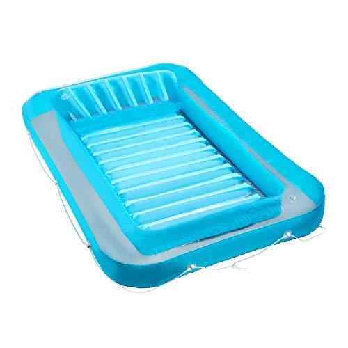 Inflatable Tanning Pool Lounge Float | Suntan Raft Float | Personal Pool Lounger | Tanning Pool with Pillow | Sunbathing Pool Blue