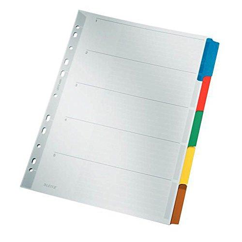 Leitz Register für A4, Deckblatt und 5 Trennblätter, Lochrand und bunte Taben folienverstärkt (Mylar), Grau, Karton, 43200000