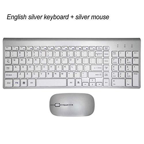 LMDZSW Ultradünne Business Wireless Tastatur und Maus Combo 102 Tasten Geräuscharme Wireless Tastatur Maus für Mac PC Win XP / 7/10 TV BoxSilber KM-US