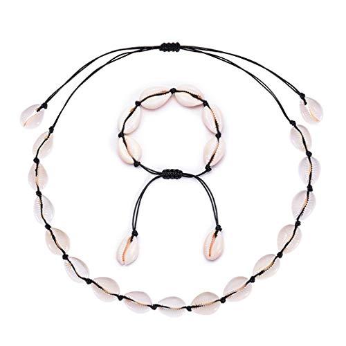 Rongzou Seashell Gargantilla pulsera hecha a mano cuerda de playa joyería para el verano