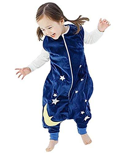 Queque Shine Sacco a Pelo di Flanella Sacchi Nanna con Piedini Lettino per Bambini Bambina (Blu, 3-5anni)