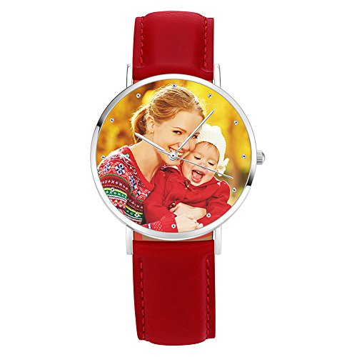 Soufeel Personalisierte Foto Armbanduhr für Damen Herren Analog Rot lederarmband Klassisch Zifferblat Wasserdicht