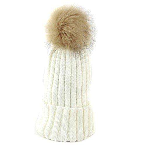 ZUMUii Butterme Filles Femmes coréenne d'hiver en Fausse Fourrure Chapeau Pom Pom Ribbed Beanie tricoté Boule de Laine Top Chapeaux