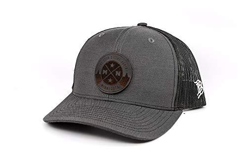 Branded Bills Minnesota 'Midnight North Star' Black Leather Patch Hat Curved Trucker- OSFA/Charcoal