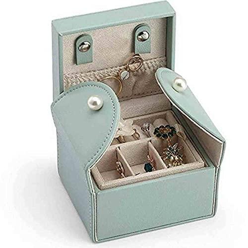 ZZZLL Mostrar Caja de joyería Joyería Mini Soft PU Cuero de PU Caja de Almacenamiento de Viaje 2 Capas para Pulseras Pendientes Anillos Collares Brooche Regalos para Niñas Madre-Verde