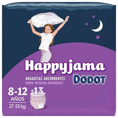 Dodot HappyJama - Pañales Niña 8-12 Años, 13 Unidades, 27-55 kg, Protección anti-fugas Durante La Noche