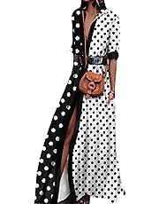 HEFASDM فستان طويل طويل منقط منقط برقبة على شكل V للنساء