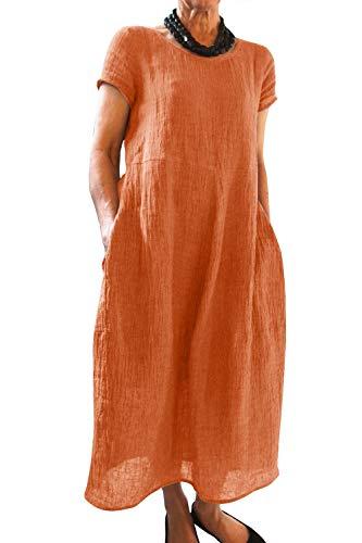Yidarton Kleider Damen Lang Sommer Elegant Strandkleid Kurzarm Rundhalsausschnitt Casual Lose Maxi Kleider mit Taschen (2X-Large, Z-Orange)