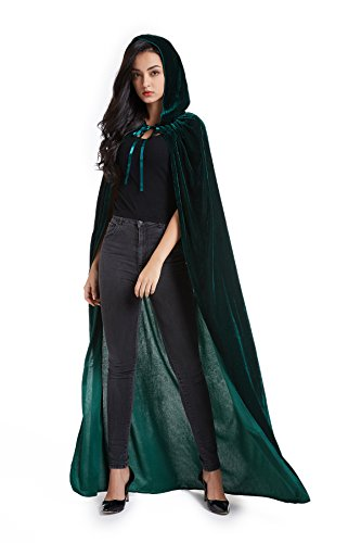 Crizcape Unisex Adult Halloween Costume Cape Hooded Velvet Cloak for Men and Womens Green