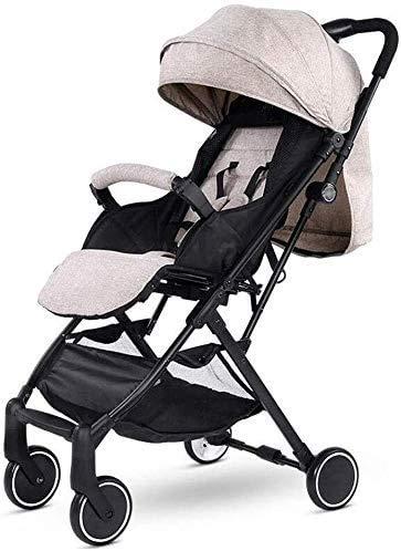 DAGCOT Cochecito de bebé sentado Horizontal portátil plegable de 4 ruedas Suspensión paraguas Viajes yangmi (Color : Brown)