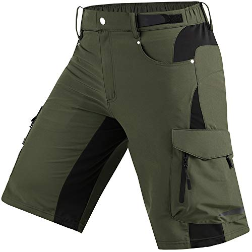 Cycorld Wanderhose Herren Kurz Trekking Shorts, Outdoor Shorts Schnell Trocknend Hiking Shorts Herren mit 6 Taschen, Herren Wandern-Trekking-Radfahren-Camping Hose Kurz (BergGrün, XXL)