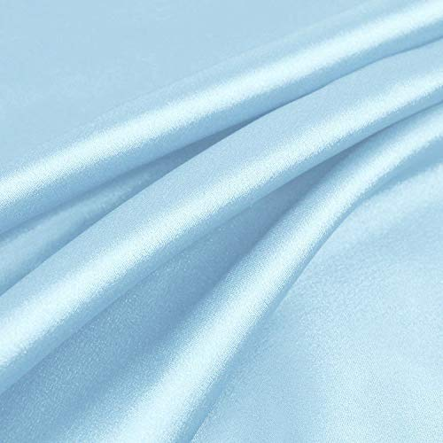 "60"" inches Wide - by The Yard - Charmeuse Bridal Satin Fabric for Wedding, Apparel, Crafts, Decor, Costumes (Light Blue, 1 Yard)"