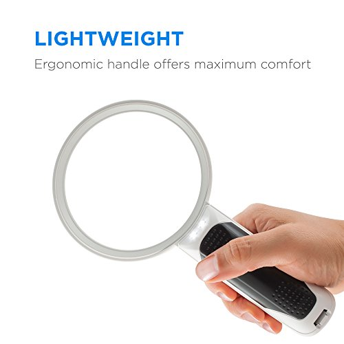 Fancii Handlupe Lupe mit LED Licht für Senioren, 3x 5x Fach (8 und 16 Dioptrien) – Beleuchtete Leselupe Starke Vergrößerung zum Lesen - 4