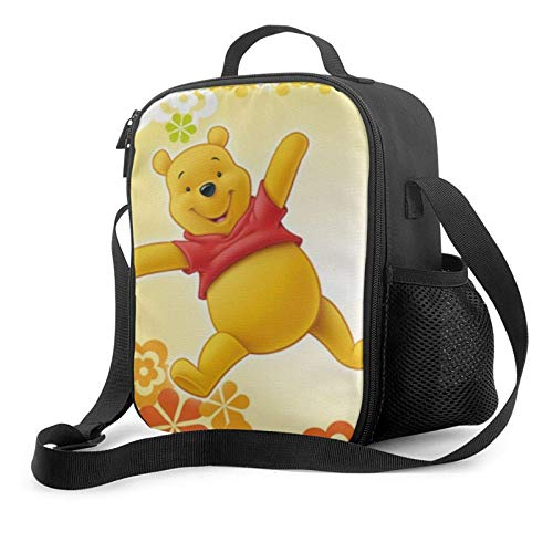 Bolsa de almuerzo portátil Wi-nn-ie Útil La bolsa de almuerzo con aislamiento Po-oh grande para hombres, mujeres, reutilizable, a prueba de fugas, enfriador, bolsa de almuerzo térmica, con correa de