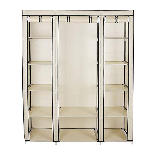 SONGMICS Kleiderschrank, Stoffschrank, mit Kleiderstange und Ablagen, Soffüberzug, für Schlafzimmer, Ankleidezimmer, 150 x 45 x 175 cm, beige LSF03M