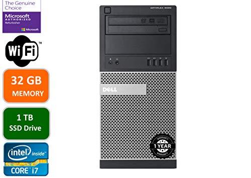 Dell Optiplex 9020 Mini Tower Desktop PC, Intel Core i7-4770-3.4 GHz, 32GB Ram, 1TB (1000GB) SSD Drive, WiFi, DVD-RW, Windows 10 Pro (Renewed)