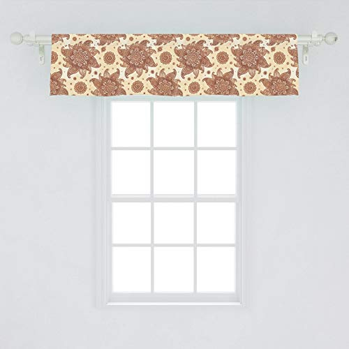 Ambesonne Brown Paisley Window Valance, Continuous Tattoo Flowers Illustration in Autumn Tones, Curtain Valance for Kitchen Bedroom Decor with Rod Pocket, 54