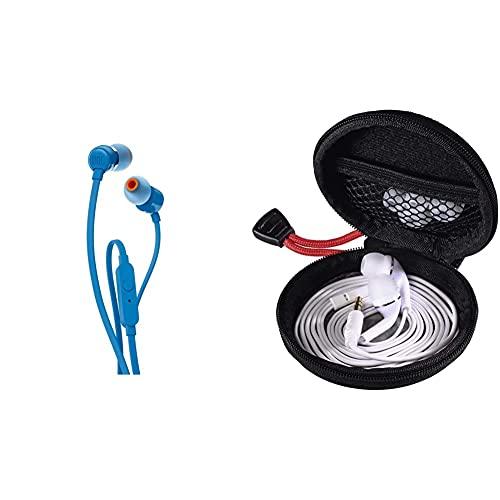 JBL Pure Bass Sound Technologie: Die kompakten Ohrhörer enthalten je einen 9 mm-Lautsprecher & Hama Kopfhörer Tasche für In Ear Headset (Robustes Hardcase zur In Ears Aufbewahrung) schwarz