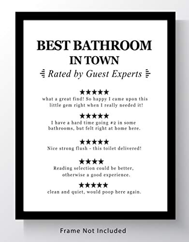 "Funny Bathroom 'Guest Reviews' Wall Art - 11x14 UNFRAMED Black and White Saying Decor Print. ""Best Bathroom in Town - Reviewed by Guest Experts"""
