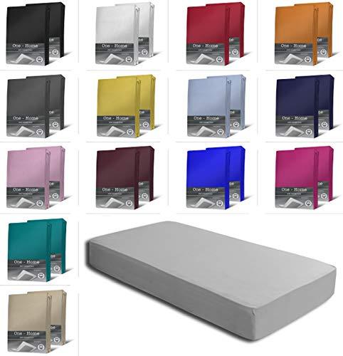 one-home 2er Set Jersey Spannbettlaken Spannbetttuch weiche Baumwolle mit Rundumgummizug, Farbe: Silber, Maße: 2er Pack 90-100 x 200 cm