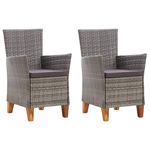 Festnight 2 STK. Gartenstühle mit Auflagen Sessel Terrassenstuhl Balkonstuhl Gartenmöbel Poly Rattan Grau 59 x 59 x